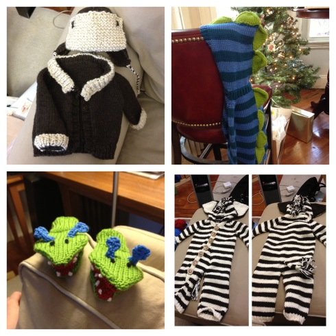 Clockwise from top left:  Aviator sweater/hat set for Olivia, Dino-rawr sweater for Landon, Monster mittens for Kai, Zebra suit for Alden