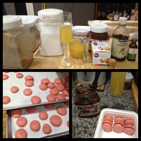 Mimosa...I mean, macaron ingredients up top; cookies right out of the oven; and filling the mim—macarons and boxing them.